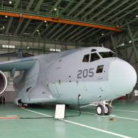 A C-2 transport aircraft is deployed at Miho Air Base in Tottori Prefecture on Thursday. | KYODO