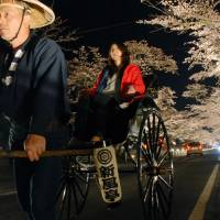 A photo taken on April 8, 2009, shows illuminated cherry blossoms in Tomioka, Fukushima Prefecture. The town used to be a popular tourist spot during the blooming season before the 2011 reactor meltdowns nearby. | KYODO