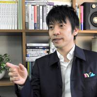 Speechwriter Yosuke Kageyama is interviewed in Tokyo in January. Kageyama says the most important thing for a professional speechwriter is to be a good communicator. | YOSHIAKI MIURA
