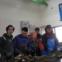 Oyster farmers Sakae Suzuki (far right) and Mitsuko Suzuki (center) show Vietnamese students how to pry open oyster shells in Rikuzentakata, Iwate Prefecture, on Feb. 16. | KYODO