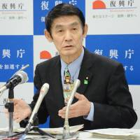 Reconstruction chief praises efforts in Tohoku, flags information campaign on radiation risks