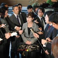 Defense Minister Tomomi Inada takes questions from reporters Tuesday at the Prime Minister's Office. | KYODO