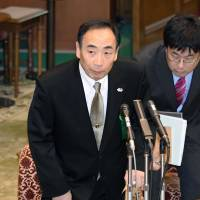 Yasunori Kagoike, head of Moritomo Gakuen, stands before giving sworn testimony in the Diet on Thursday. | KYODO