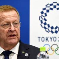 John Coates, vice president of the International Olympic Committee and chairman of the IOC Coordination Commission for the Tokyo 2020 Olympic Games, answers questions at a news conference Thursday in Tokyo after a two-day meeting with the Tokyo organizing committee to discuss progress on preparations. | AFP-JIJI