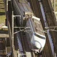 Toki No. 325 derailed in October 2004 when a powerful earthquake rocked the Chuetsu region in Niigata Prefecture. It was the first bullet train derailment in history. | KYODO