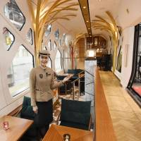 Photo taken Thursday at JR Ueno Station in Tokyo shows the lounge inside the Train Suite Shiki-Shima, JR East's new luxury sleeper train. | KYODO