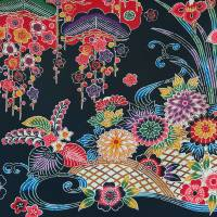 This piece of bingata-inspired fabric indicates just how close Yoron is to present-day Okinawa. | STEPHEN MANSFIELD