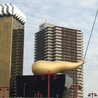 The Asahi Flame flies above the Asahi Beer Hall in Asakusa. | KATHRYN WORTLEY
