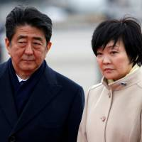 Prime Minister Shinzo Abe and his wife, Akie, have been embroiled in a scandal involving Osaka-based Moritomo Gakuen, a private educational firm with a nationalist bent. | REUTERS