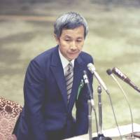 Recruit Holdings Chairman Hiromasa Ezoe gives Diet testimony over an insider trading scandal in December 1988. | KYODO
