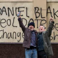Dave Johns as Daniel protesting outside a job center in 'I, Daniel Blake. | ©SIXTEEN TYNE LIMITED, WHY NOT PRODUCTIONS, WILD BUNCH, LES FILMS DU FLEUVE, BRITISH BROADCASTING CORPORATION, FRANCE 2 CINEMA AND THE BRITISH FILM INSTITUTE 2016; PORTRAIT PHOTO