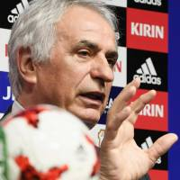 Japan coach Vahid Halilhodzic speaks during a Thursday news conference in Tokyo. | KYODO