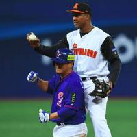 Netherlands infielder Jonathan Schoop, seen during a recent World Baseball Classic first-round game in Seoul, is a rising star for the Baltimore Orioles. | AFP-JIJI