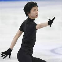 Yuzuru Hanyu practices in Helsinki on Monday ahead of the start of the world championships. Hanyu will attempt to win his first world title since 2014. | KYODO