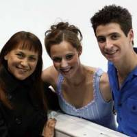 Coach/choreographer Marina Zoueva (left), seen here with Canada's Tessa Virtue and Scott Moir, led the ice dancers to the gold medal at the 2010 Vancouver Games. CC BY-SA 3.0 / Dave Carmichael
