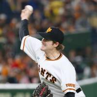 Giants starter Miles Mikolas worked seven solid innings on Friday night, allowing six hits. | KYODO