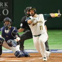 Australia's Allan de San Miguel hits a solo home run in the bottom of the second inning to put Australia in front against Japan on Wednesday. | KYODO