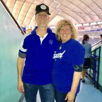 Adam and Margie Orlan, whose son is a pitcher for the Israel team at the 2017 World Baseball Classic, pose for a photo after the team's 4-1 win over Cuba on Sunday at Tokyo Dome.   KAZ NAGATSUKA
