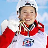 Horishima claims gold at freestyle ski worlds