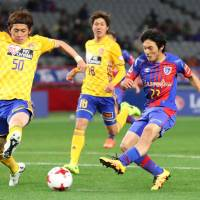 Shoya Nakajima scores during FC Tokyo's 6-0 win over Vegalta Sendai in the J. League Cup on Wednesday. | KYODO