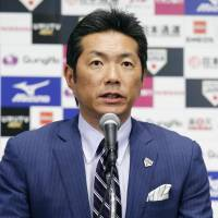 Japan manager Hiroki Kokubo speaks during a news conference on Thursday in Tokyo. | KYODO