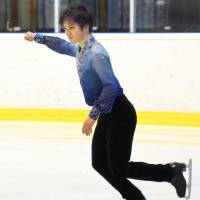 Shoma Uno competes in the short program at Coupe du Printemps in Kockelscheuer, Luxembourg, on Friday. Uno earned a score of 104.31 points and is in first place heading into Sunday's free skate. | KYODO