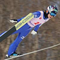 Yuki Ito competes in the large hill event at the International Miyasama Ski Games in Sapporo on Sunday. | KYODO