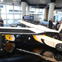 The Aeromobil, a flying supercar, is on display as part of the 'Top Marques' show, dedicated to exclusive luxury goods, on Wednesday in Monaco. | AFP-JIJI