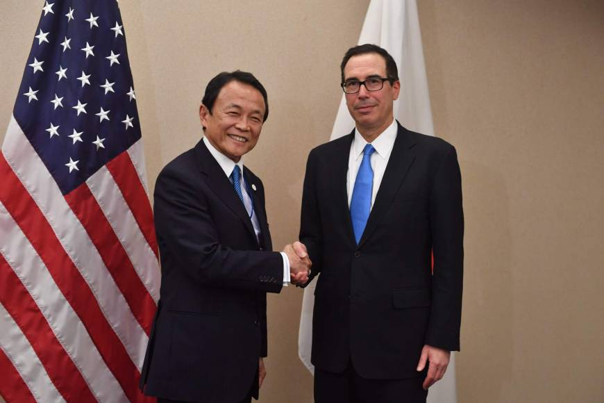 Aso and Mnuchin agree currency should be handled by finance chiefs