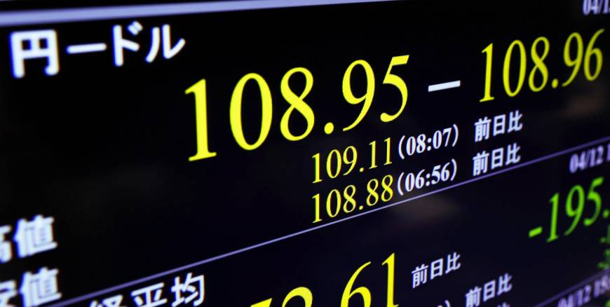 A foreign exchange board shows the dollar's fall to ¥108, its lowest level in five months, in Tokyo on Thursday. | KYODO