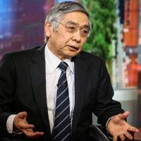 BOJ Gov. Haruhiko Kuroda said the bank will continue with very accommodative monetary policy and maintain the current pace of asset purchases for some time. | BLOOMBERG