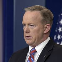 White House press secretary Sean Spicer speaks during the daily briefing at the White House in WashingtonWednesday. | AP