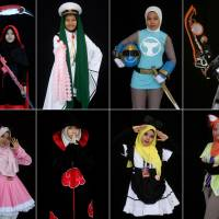 Muslim women wearing hijabs enjoy participating in Malaysian cosplay event