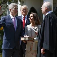 At White House, Gorsuch sworn into Supreme Court, vows to serve Constitution