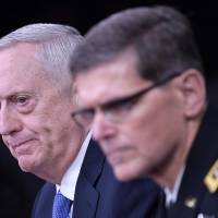 Mattis says defeating Islamic State still priority, warns Assad against any further sarin attacks