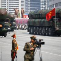 Missiles are seen during a military parade marking the 105th anniversary of the birth of North Korean founding father Kim Il Sung in Pyongyang on Saturday.   REUTERS
