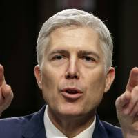 U.S. Supreme Court nominee Neil Gorsuch speaks during his confirmation hearing in the Senate on March 22. Gorsuch repeatedly sidestepped a range of hot topics. | AP