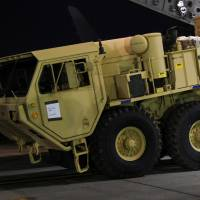A Terminal High Altitude Area Defense (THAAD) interceptor arrives at Osan Air Base in Pyeongtaek, South Korea, on March 6. | REUTERS