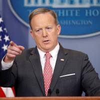 White House Press Secretary Sean Spicer takes a question during a press briefing at the White House in Washington Monday. | REUTERS