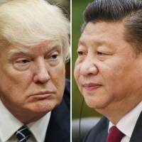 These photos show U.S. President Donald Trump on Tuesday in Washington and Chinese President Xi Jinping on Feb. 22 in Beijing. | AP