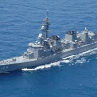 This file photo shows the Samidare, one of two Maritime Self-Defense Force destroyers  that began drills with the USS Carl Vinson in the Western Pacific on Sunday. | DEFENSE MINISTRY / VIA KYODO