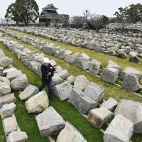 Stones from Kumamoto Castle's wall are placed in rows on March 22 with numbers allocated to each to ensure they are put back in the same spot.   KYODO
