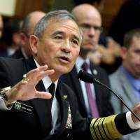 Head of  U.S. Pacific Command Adm. Harry Harris testifies before a House Armed Services Committee hearing in Washington on Wednesday. | REUTERS