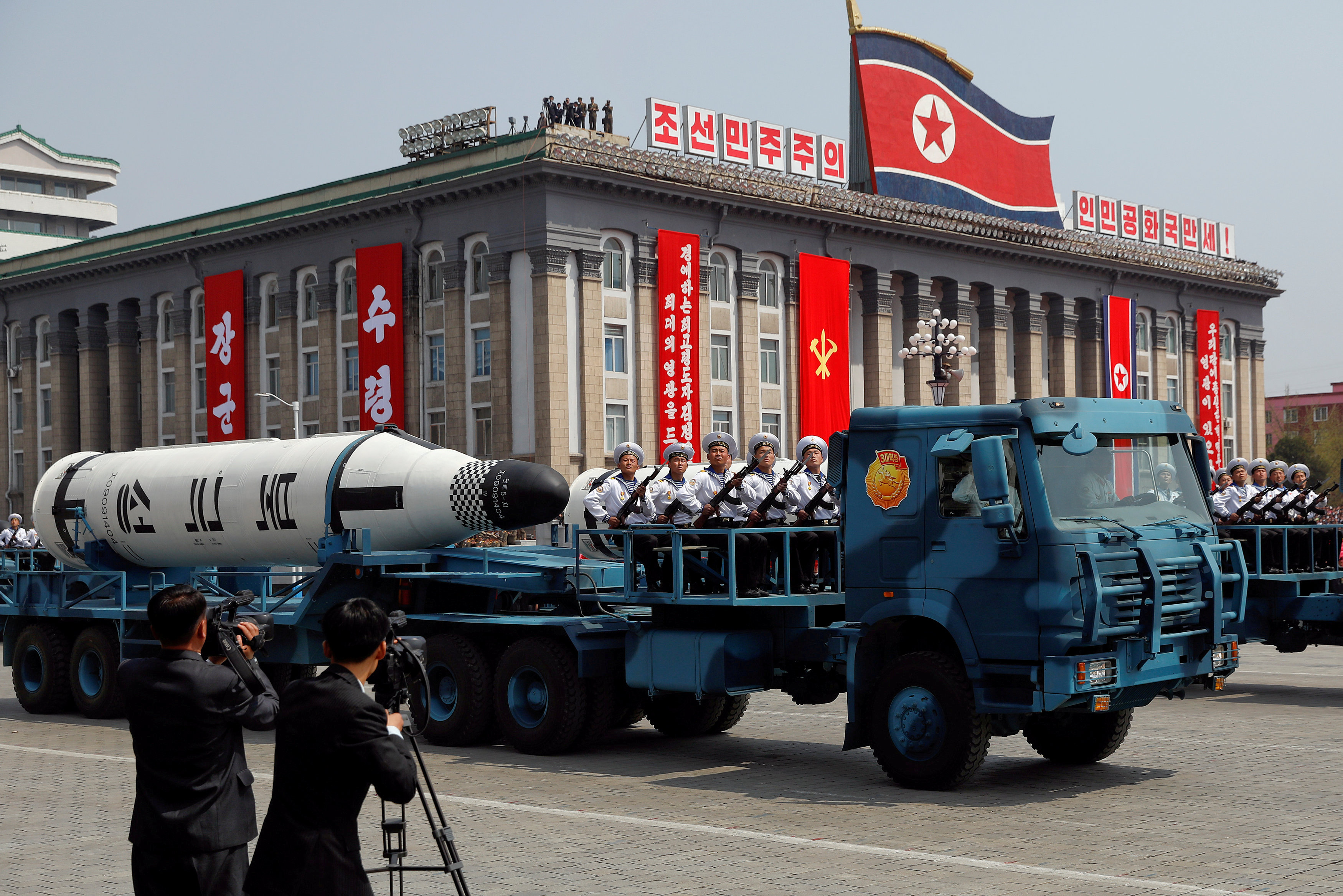 A North Korean navy truck carries the Pukkuksong submarine-launched ballistic missile (SLBM) during a military parade marking the 105th birth anniversary of country's founding father, Kim Il Sung in Pyongyang on April 15. | REUTERS