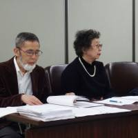 (From left) Kobayashi, Nagai and Watanabe hold a news conference Wednesday following a Tokyo High Court ruling that rejected their claim that it was unreasonable they could not be rehired because they refused to sing the national anthem at school events. | DAISUKE KIKUCHI