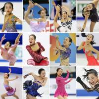 This sequence of photos (from top left to right) shows skating performances by Mao Asada every year from 2005 to 2016. | KYODO