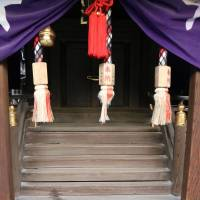 Stains are seen Saturday at one of the small shrines at Shimogamo Shrine in Kyoto. | KYODO