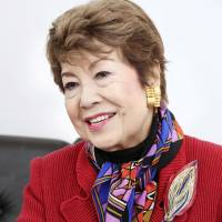Singer Peggy Hayama speaks during an interview in Tokyo in February. | KYODO