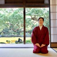 Well composed: Sachiko Saitsu, a member of the  Ishida Castle Gardens' team of caretakers, sits in a tatami room of the gardens' villa.  Oscar Boyd