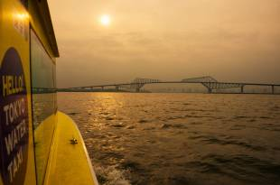 A Tokyo Water Taxi vessel travels toward the Gate Bridge in Tokyo Bay.